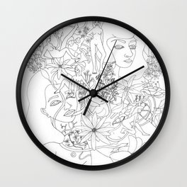 flowers and girls Wall Clock