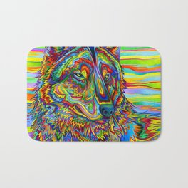 Colorful Psychedelic Rainbow Wolf Bath Mat