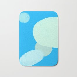 Let's Appreciate Our Shapes no.12 - blue abstract painting shapes modern minimalist art Bath Mat