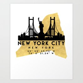 NEW YORK CITY NEW YORK SILHOUETTE SKYLINE MAP ART Art Print