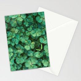 Lucky Green Clovers, St Patricks Day pattern Stationery Cards