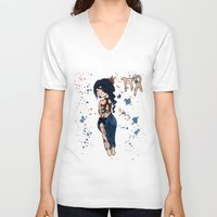 virgo V-neck T-shirts featuring Virgo by Te Atarua