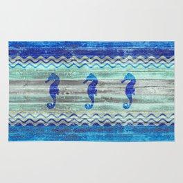 Rustic Navy Blue Coastal Decor Seahorses Rug