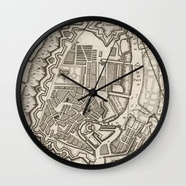 Vintage Map of Copenhagen Denmark (1764) Wall Clock