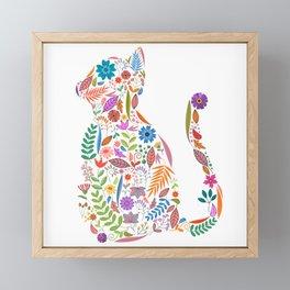 Fancy And Fine Flowered Cat Garden Design Framed Mini Art Print