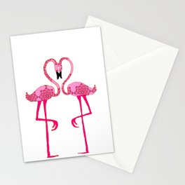 Flamingo  in love Stationery Cards