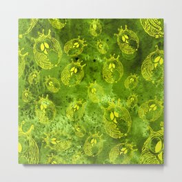 Mosaic of owls green and yellow color Metal Print