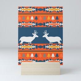 Deer winter pattern Mini Art Print