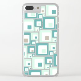 Retro Squares Mid Century Modern Background Clear iPhone Case