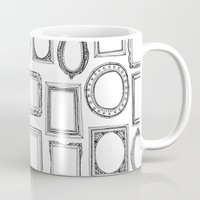 frames Mugs featuring picture frames mono by Sharon Turner