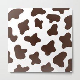 Brown Cow Spots Pattern (brown/white) Metal Print