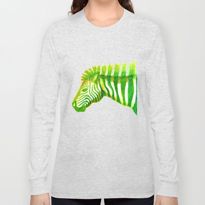 Zebra Watercolor Print Long Sleeve T-shirt