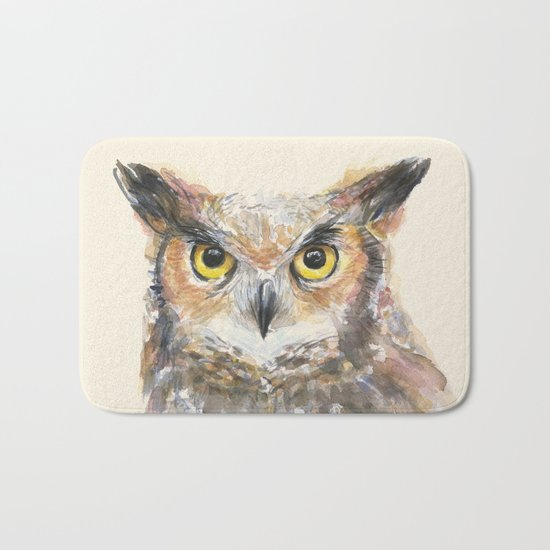 Great Horned Owl Watercolor Bath Mat