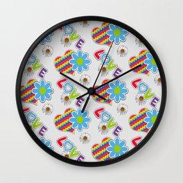 Hippie Heart Rainbow Print in Gray Wall Clock