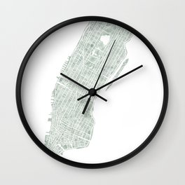 Map Manhattan NYC watercolor map Wall Clock