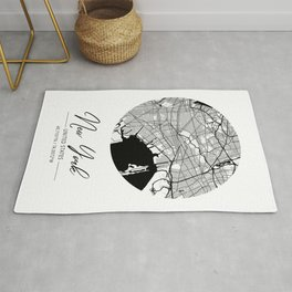 New York Area City Map, New York Circle City Maps Print, New York Black Water City Maps Rug