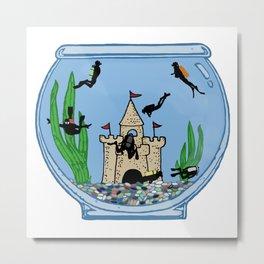 Fish Bowl Divers Metal Print