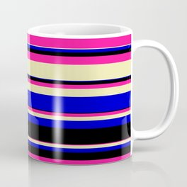 Deep Pink, Pale Goldenrod, Blue, and Black Colored Striped/Lined Pattern Coffee Mug