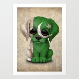 Cute Puppy Dog with flag of Pakistan Art Print