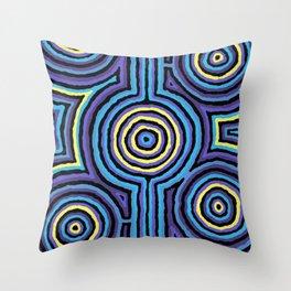 Authentic Aboriginal Art - Campsite Blue Throw Pillow