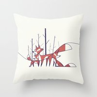 foxes Throw Pillows featuring Foxes by Ale Giorgini