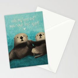 Sea Otters in Love Stationery Cards