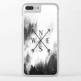 Foggy Forest Compass Clear iPhone Case