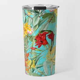 Vintage & Shabby Chic - Colorful Tropical Blue Garden Travel Mug