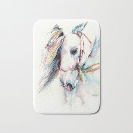 Fantasy white horse Bath Mat
