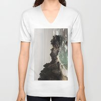 big sur V-neck T-shirts featuring BIG SUR, CA WATERFALL AND COAST by Jeremiah Wilson