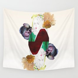 GIRL AND FLOWERS Wall Tapestry