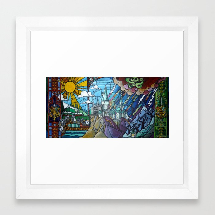 Hogwarts stained glass style Framed Art Print by wormholepaintings ...