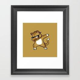 Dabbing Cat Caramel Framed Art Print