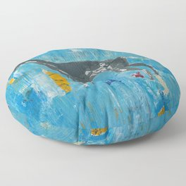 Greyhound Dog Abstract Painting Floor Pillow