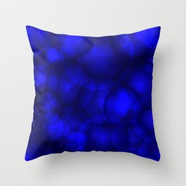 Glowing blue soap circles and volume sea bubbles of air and water. Throw Pillow
