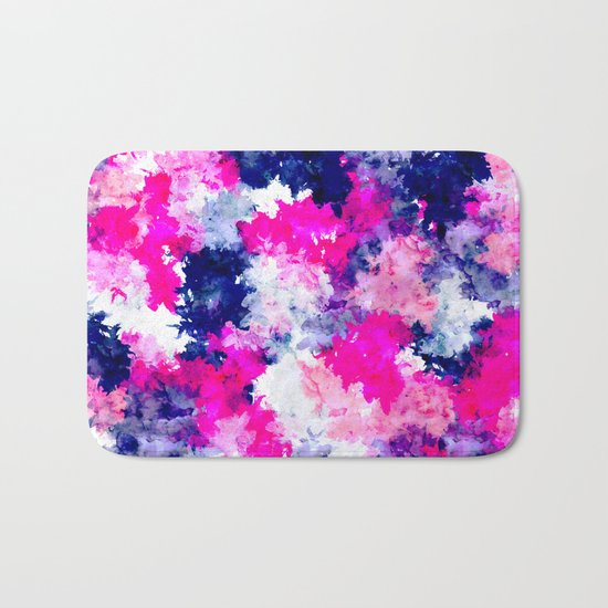 Hand painted pink purple watercolor abstract brushstrokes  Bath Mat