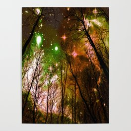 Black Trees Peach Brown Green Space Poster