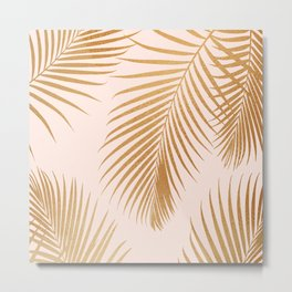 Tropical Escape / Golden Palm Fronds Metal Print