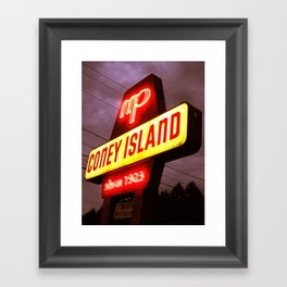 Small Town Coney Island Framed Art Print