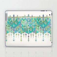 Art Deco Double Drop in Jade and Aquamarine on Cream Laptop & iPad Skin