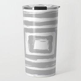 Minimal Light Gray Brush Stroke Square Rectangle Pattern Travel Mug