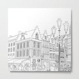Street Corner in Bruges, Belgium Metal Print