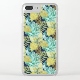 Blue greenery #society6 Clear iPhone Case