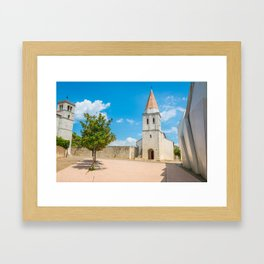 Square of the Glagolitic Monks with Church of St Francis, Town of Krk on the island of Krk, Croatia Framed Art Print
