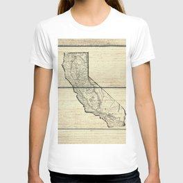 Vintage Map of California T-shirt