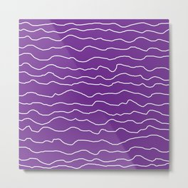 Purple with White Squiggly Lines Metal Print