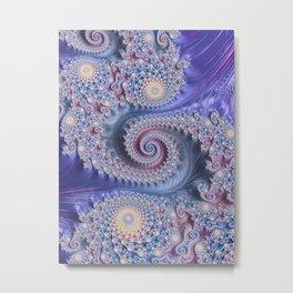 Feathery Flow Lilac - Fractal Art  Metal Print