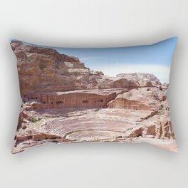 Petra Nabatean Ruins Sandstone Amphitheater Rectangular Pillow
