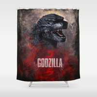 godzilla Shower Curtains featuring Godzilla by Denda Reloaded