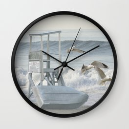 Life Boat and Gulls amidst the Surf Wall Clock